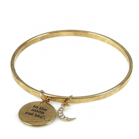 To The Moon & Back - Gold Bangle - giftpunk.com