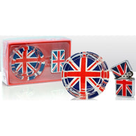 Union Jack - Windproof Lighter & Glass Ashtray Gift Set | smoking | Affordable gifts for him for her at giftpunk.com - FREE delivery