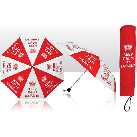 Keep Calm - 'It's Raining' Collapsible Umbrella | accessory | Affordable gifts for him for her at giftpunk.com - FREE delivery