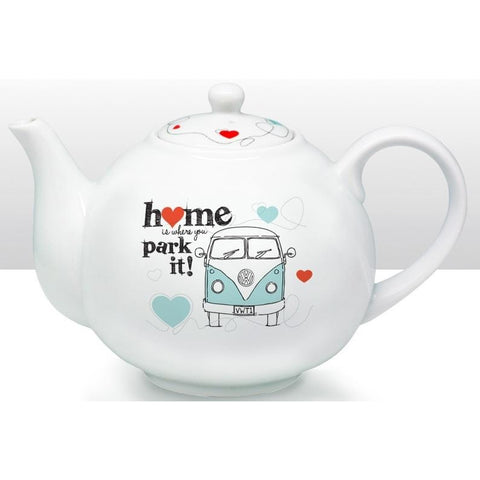 VW, Volkswagen 'Home is where you park it' - Camper Van Ceramic Teapot | kitchenware | Affordable gifts for him for her at giftpunk.com - FREE delivery