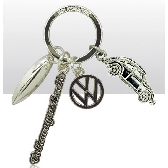 VW Volkswagen Beetle - Silver Metal Charm Keyring | accessory | Affordable gifts for him for her at giftpunk.com - FREE delivery
