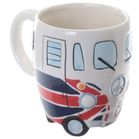 Camper Van Coloured, Psychedelic, Union Jack - Shaped Dolomite Ceramic Mugs | kitchenware | Affordable gifts for him for her at giftpunk.com - FREE delivery
