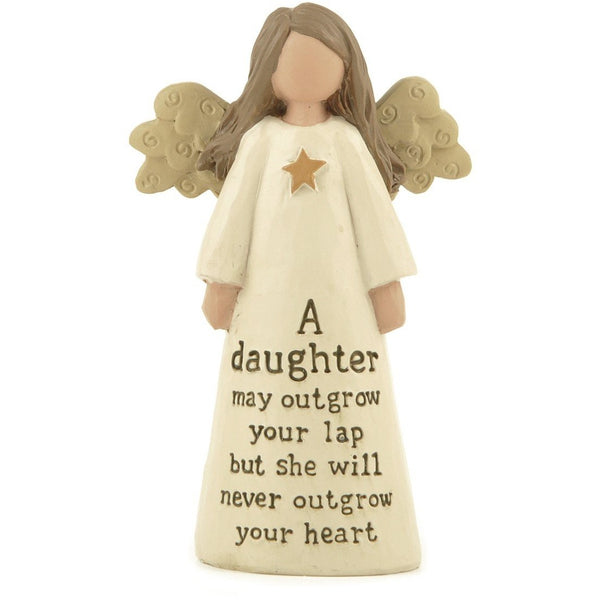 A daughter may outgrow your lap but she will never outgrow your heart - Angel Ornament | collectables | Affordable gifts for him for her giftpunk.com - FREE UK delivery