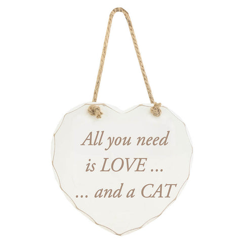 All you need is LOVE... and a CAT - Shabby Chic Wooden Sign | frames & wall art | Affordable gifts for him for her giftpunk.com - FREE UK delivery