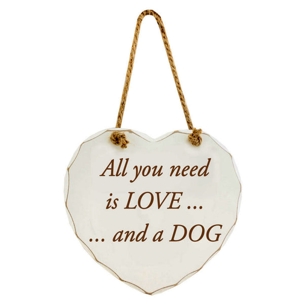 All you need is LOVE... and a DOG - Shabby Chic Wooden Sign | frames & wall art | Affordable gifts for him for her giftpunk.com - FREE UK delivery