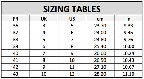 Sizing Chart Twins Collection