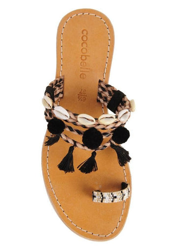 Cocobelle Women`s Sandals Kopi Sandal Black Leather Tassel Sandal