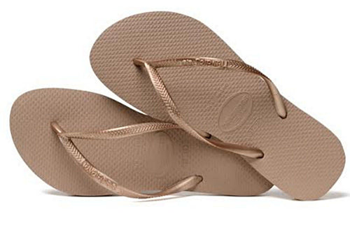 Havaianas Women`s Flip Flops Slim Style Sandal Rose Gold Sexy Sandals