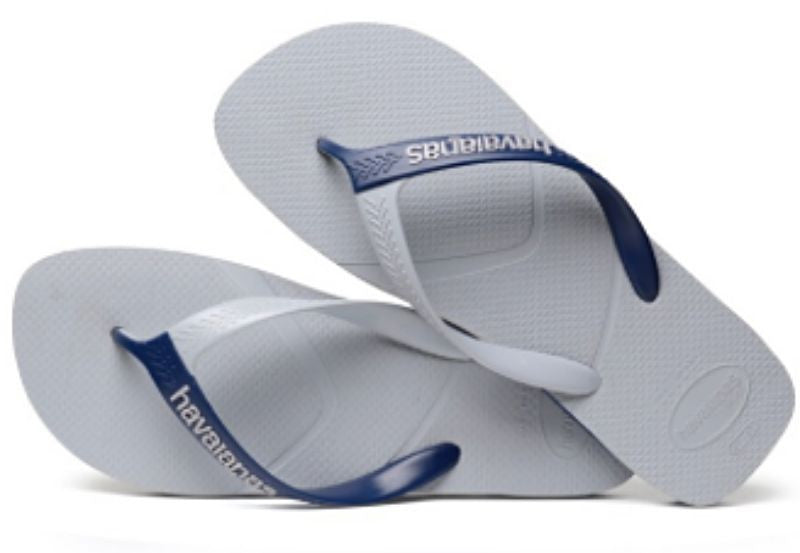 Havaianas Men`s Brazilian Flip Flops Casual Sandals Grey and Navy Blue