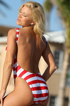UjENA Women`s Swimwear W122 American Flag Double Dip 1-PC Swimsuit