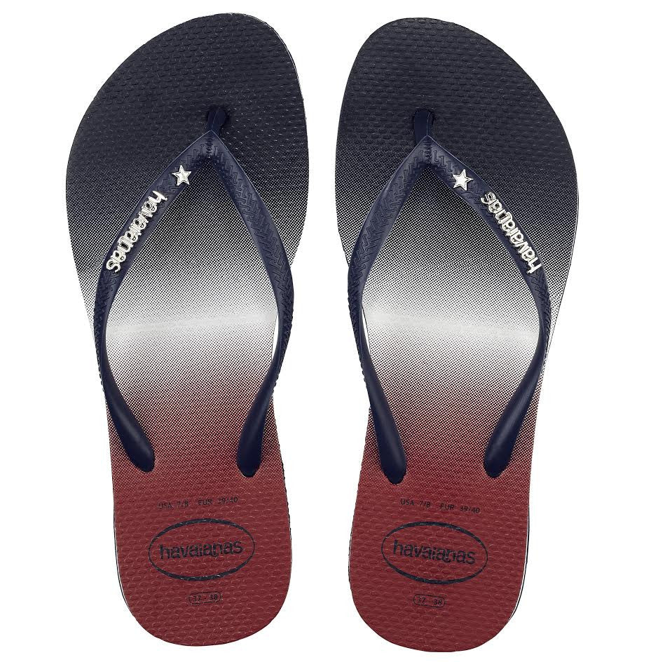 Havaianas Women`s Flip Flops Slim USA Ombre Sandals Navy Blue