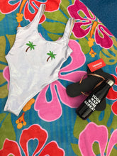 Private Party Swimwear One Piece Swimsuit Palm Trees Irirdescent White