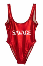 Private Party Swimwear Metallic One Piece Swimsuit Savage Red Metallic Swimsuit
