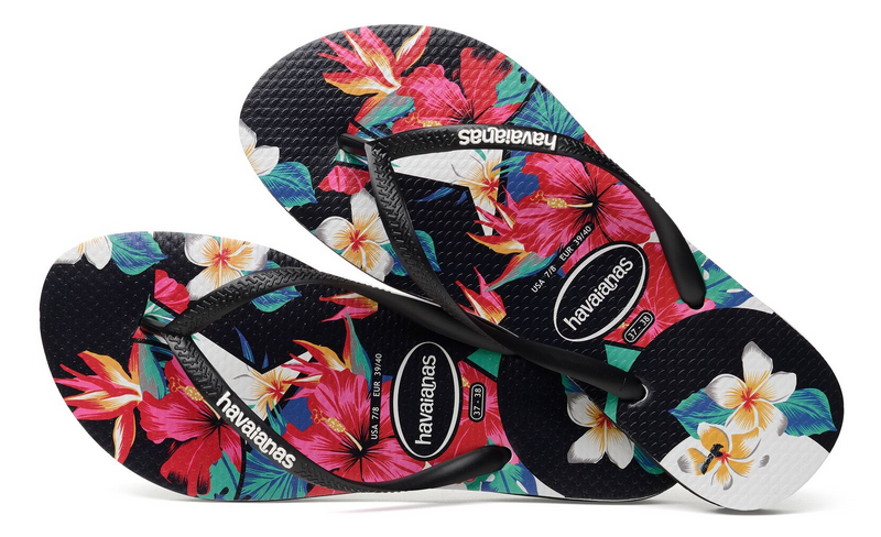 4442d8e6843f Havaianas Women`s Flip Flops Slim Tropical Floral Sandals Black ...