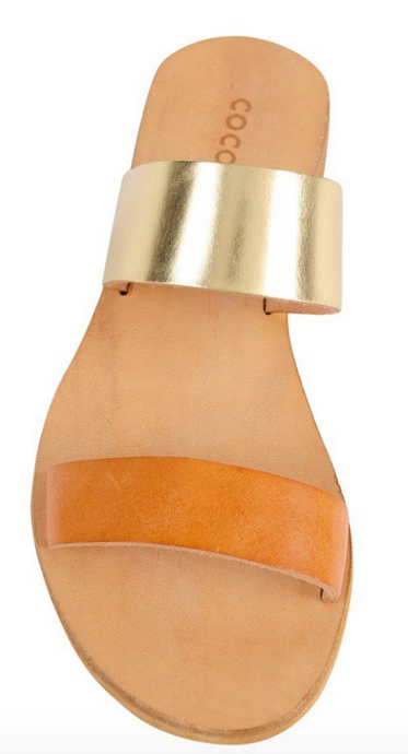 Cocobelle Women`s Sandals Leather Slide Italian Sandal Natural / Gold Leather Straps