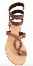 L*Space by Cocobelle Women`s Sandals Snakeskin Leather Ankle Wrap Sandal