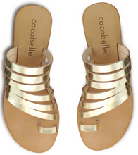 Cocobelle Women`s Sandals Palermo Italian Leather Sandal Gold Leather Straps