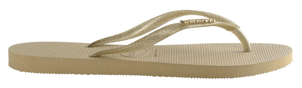 229d19dce97e5 ... Havaianas Women`s Flip Flops Slim Logo Metallic Sandal Sand Grey Light  Gold