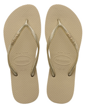 Havaianas Women`s Flip Flops Slim Logo Metallic Sandal Sand Grey Light Gold