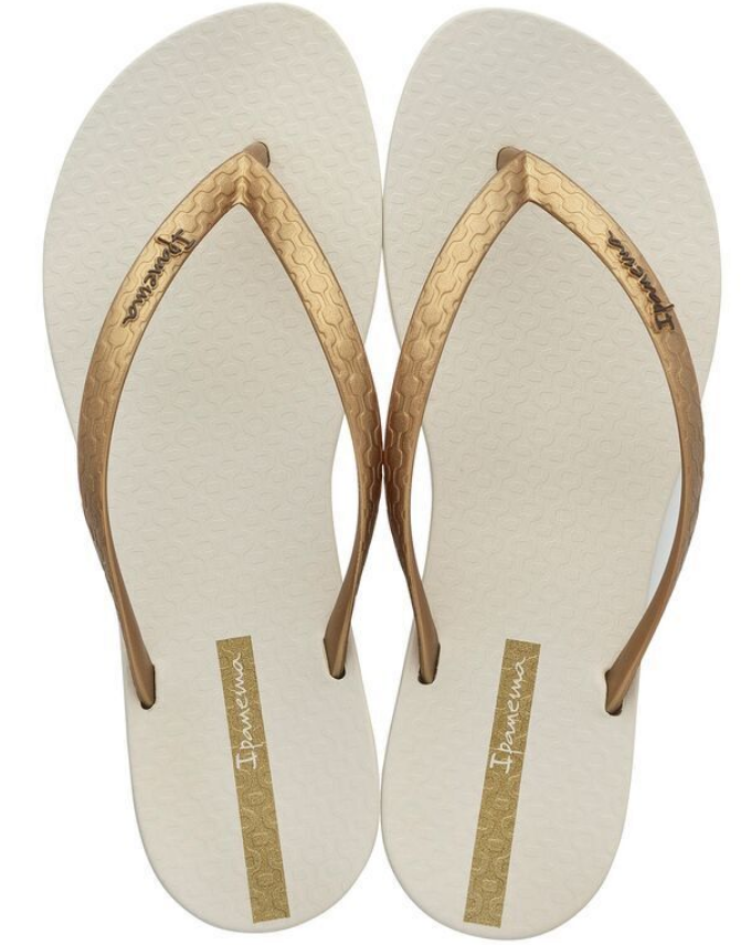 Ipanema Women`s Flip Flops Wave Essence Sandal Beige Gold Brazilian Sandals