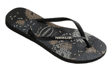 Havaianas Women`s Flip Flops Slim Logo Metallic Bloom Sandal Black Silver