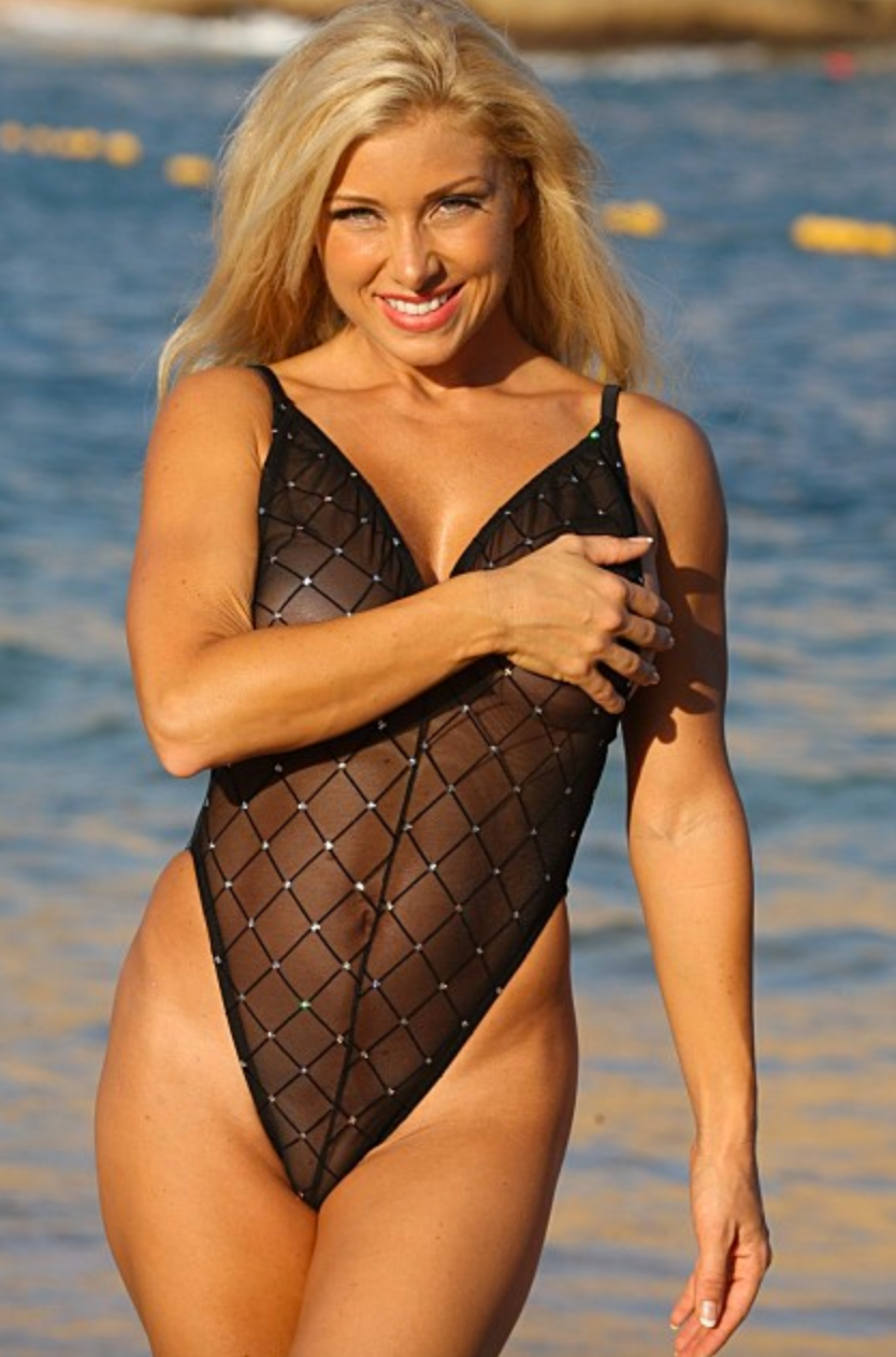 UjENA Women`s Swimwear Fabulous Black Sheer Diamond One Piece Swimsuit