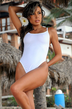 UjENA Women`s Swimwear Sheer When Wet Tonga One Piece Swimsuit White