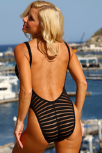 UjENA Women`s Swimwear Sheer Stripes Double Dip One Piece Black Swimsuit