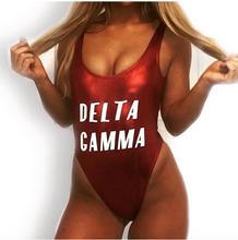 Private Party Swimwear One Piece Swimsuit Delta Gamma Metallic Red Swimsuit