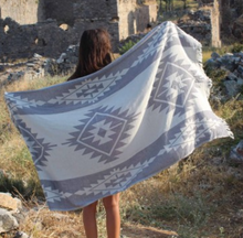 Bersuse Turkish Beach Towels Tulum Silver Large Beach Towel