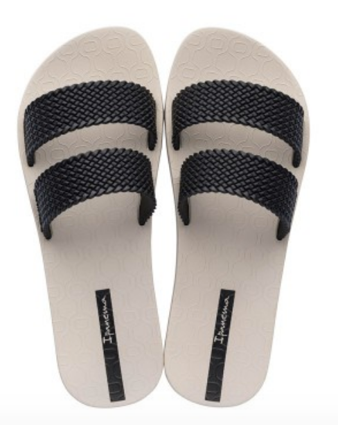 Ipanema Women`s Flip Flops City Sandal Beige and Black Slide Sandals