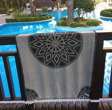 Bersuse Turkish Beach Towels Ionia Black and Gray Large Beach Towel