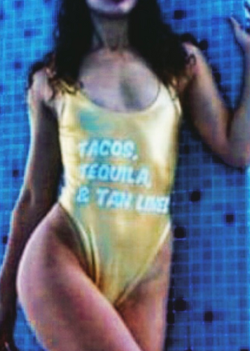 Private Party Swimwear One Piece Swimsuit Tacos Tequila and Tanlines Gold Swimsuit