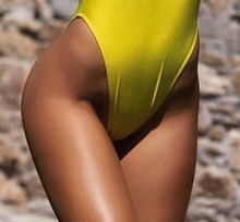 Private Party Swimwear Beach Please One Piece Swimsuit Yellow with White