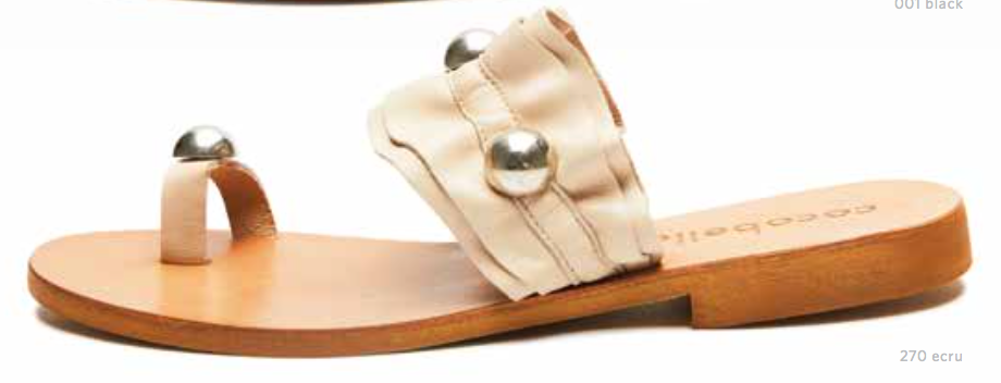 Cocobelle Women`s Sandals Abigail Italian Leather Sandal Ecru / Gold Orbs