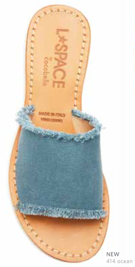 L*Space by Cocobelle Women`s Sandals Sunday Slide Leather Sandal Ocean
