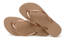 Havaianas Women`s Flip Flops Slim Crystal Glamour SW Sandals Rose Gold