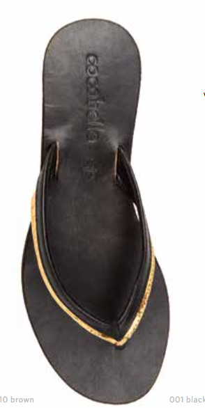 Cocobelle Women`s Sandals Ali Sandal Black and Gold Leather Thong Sandals