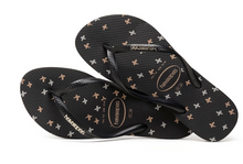 Havaianas Women`s Flip Flops Slim Logo Metallic X Sandals Black Gold Silver