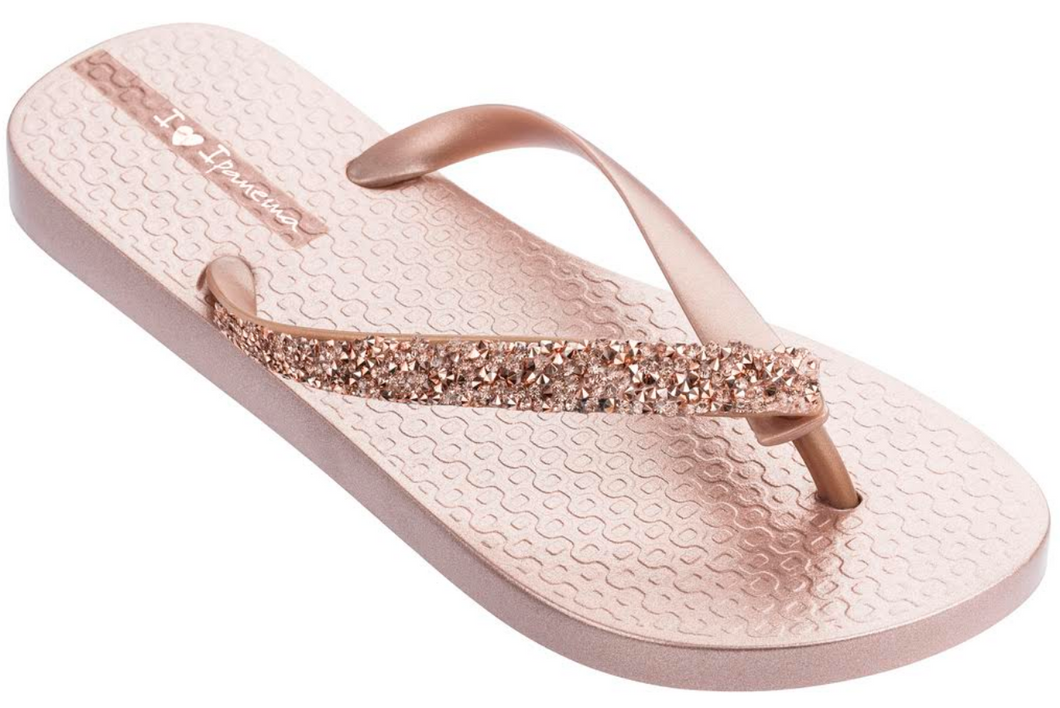 Ipanema Women`s Flip Flops Pebble Sandal Metallic Rose Brazilian Sandals