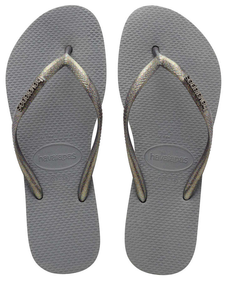 Havaianas Women`s Flip Flops Slim Logo Metallic Sandals Steel Grey / Glitter