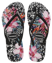 Havaianas Women`s Flip Flops Slim Animal Floral Sandals Black