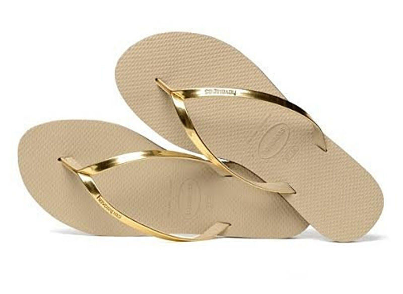 Havaianas Women`s Flip Flops You Metallic Sandals Sand Grey Light Golden
