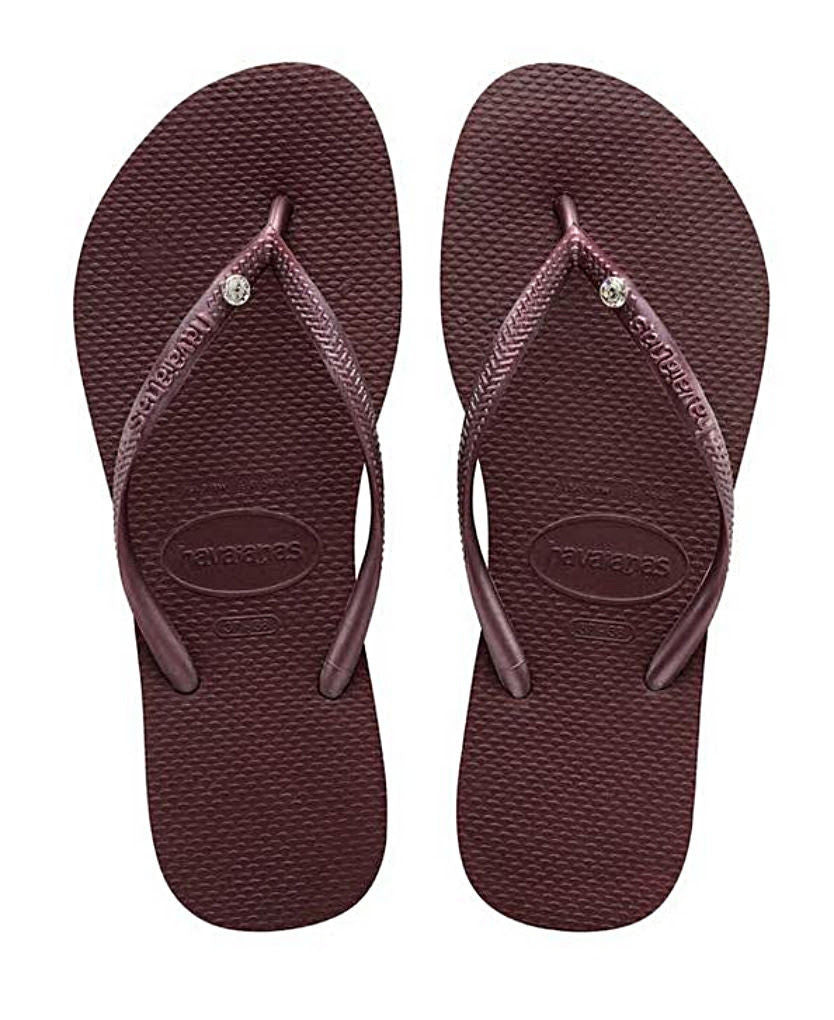 Havaianas Women`s Flip Flops Slim Crystal Glamour SW Sandal Grape Wine