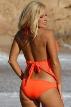 UjENA Women`s Swimwear Festival Open-Back Tankini Neon Orange Bikini Swimsuit
