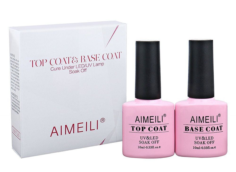 AIMEILI Soak Off UV LED Gel Nail Polish - Base and No Wipe Top Coat ...