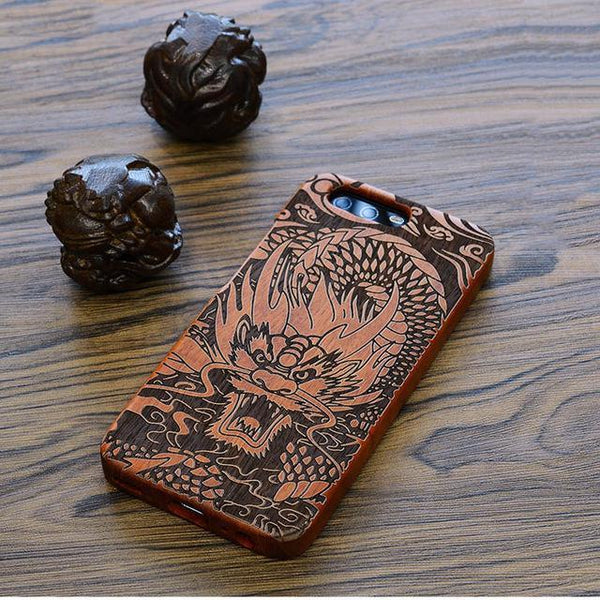 Coque 100% bois Huawei P8 P9 P10 Plus Mate 7 8 9 Honor 7 8, grand dragon-coque bois-kokanboi