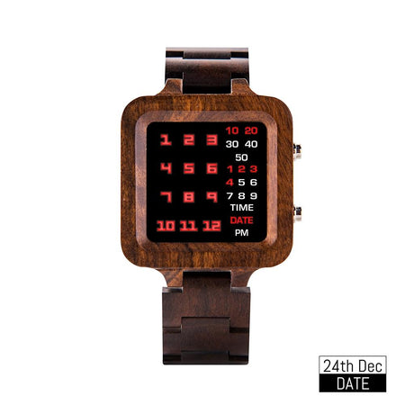 Montre digitale carrée, 100% bois-montre bois-kokanboi