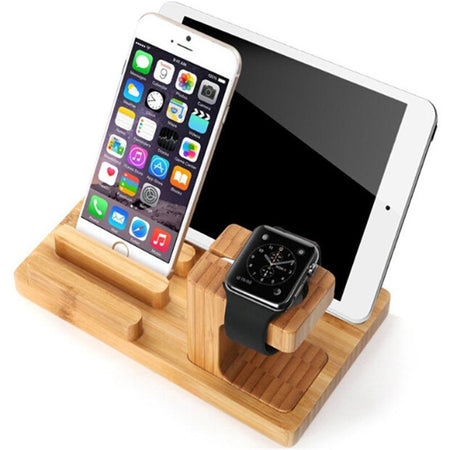Support pour iPhones, iPad et AppleWatch en bois de bambou-support iPhone bois-kokanboi