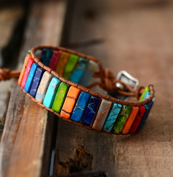 Chakra Bracelet Jewelry Handmade Multi Color Natural Stone Tube Beads Leather Wrap Bracelet